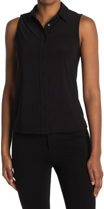 Anne Klein Collared Sleeveless Button Front Top
