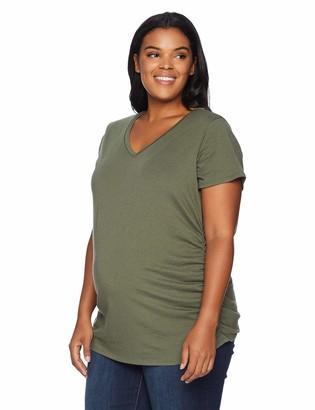 Motherhood Maternity Women's Maternity Plus-Size Short Sleeve V-Neck Side Ruched Tee Shirt