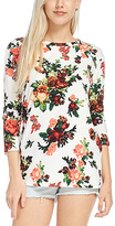 Ivory & Red Floral Three-Quarter Sleeve Top