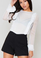 Missy Empire Saskia White Long Sleeved Sheer Playsuit