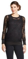 MaCherie Maternity Long Sleeve Crew with Banded Bottom Lace Top Black - Ma Cherie