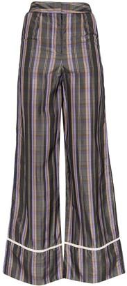 N DUO Plaid Wide-Leg Trousers