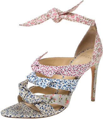 Alexandre Birman Floral Printed Canvas Lolita Knot Strappy Sandals Size 38.5