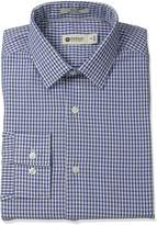 Haggar Men's Mini Check Point Collar Regular Fit Long Sleeve Dress Shirt
