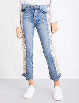 Current/Elliott The Uneven Seamed Original straight high-rise jeans