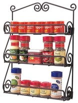Spectrum Wall Mount Scroll Spice Rack - Black