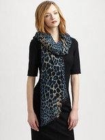 Wool & Cashmere Leopard Print Scarf