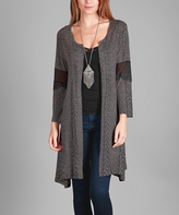 Aster Gray Cable Knit Duster - Plus Too