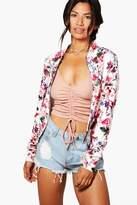 boohoo Alisha Floral Pastel Bomber Jacket cream