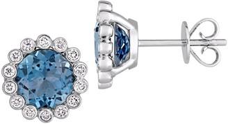 Sonatina 14K White Gold, London Blue Topaz & Diamond Stud Earrings