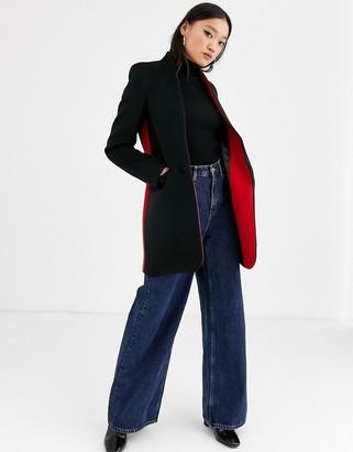 Gianni Feraud side stripe notch collar slim coat