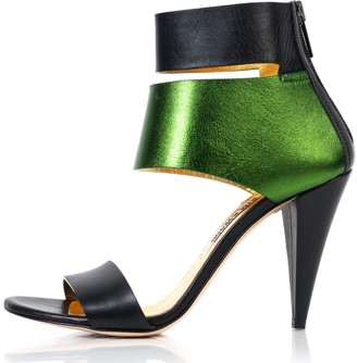 Kim Kwang Metallic Finish Leather Sandals Green