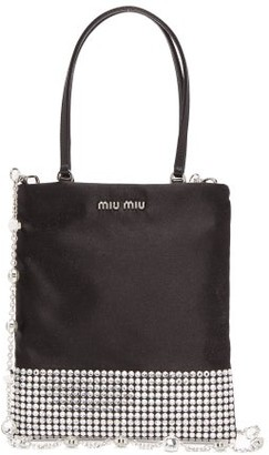 Miu Miu Crystal-embellished Satin Bag - Black Multi