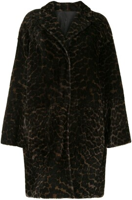 Yves Salomon Leopard Faux-Fur Coat