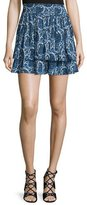 Derek Lam 10 Crosby Tiered Silk Paisley Mini Skirt, Blue