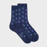 Paul Smith Women's Navy Paisley Silk-Blend Socks
