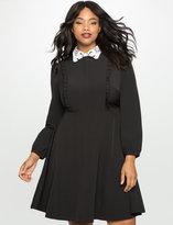 ELOQUII Plus Size Embroidered Collar Shirt Dress