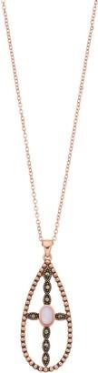 La Belle Vie Marcasite & Mother-of-Pearl Cross Teardrop Pendant
