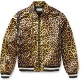 Saint Laurent Leopard-Print Satin Harrington Jacket