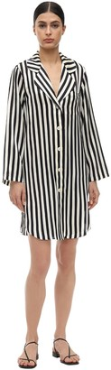 Morgan Lane Jillian Stripe Silk Charmeuse Night Gown
