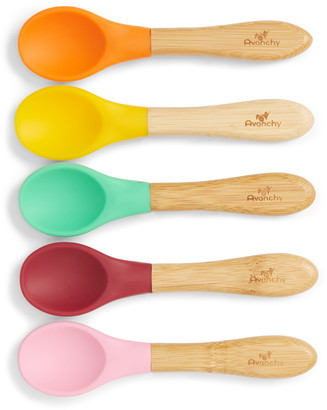 Avanchy 5-Pack Silicone & Bamboo Wood Baby Spoons