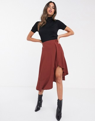 UNIQUE21 asymmetric wrap skirt with button detail-Brown