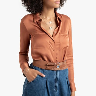 Satin Feel Blouse with Long Sleeves