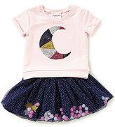 Flapdoodles Little Girls 2T-6X Moon Short-Sleeve Top & Printed Skort Set