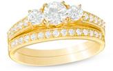 Zales 7/8 CT. T.W. Diamond Three Stone Bridal Set in 10K Gold