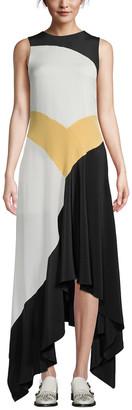 Olivia Palermo Handkerchief Hem Silk Dress