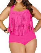 Papaya Wear Women's Retro High Waist Braided Fringe Top Bikini Swimwear Plus Size L