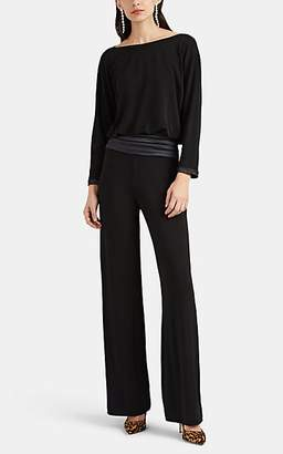 Giorgio Armani Women's Satin-Trimmed Draped Jersey Jumpsuit - Black