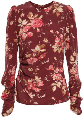 Zimmermann Floral-print Ruched Stretch-silk Crepe Top
