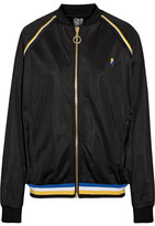 P.E Nation Strike Out Embroidered Jersey Bomber Jacket - Black