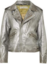 Golden Goose Deluxe Brand Chiodo Distressed Metallic Leather Biker Jacket - Silver