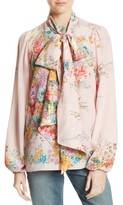 N°21 Women's N?21 Floral Print Tie Neck Silk Shirt