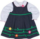 Florence Eiseman Floral-Trim Twill Dress w/ Blouse, Navy, Size 12-24 Months