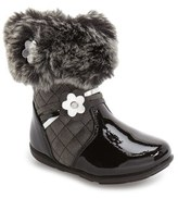 Laura Ashley Toddler Girl's Faux Fur Flower Boot