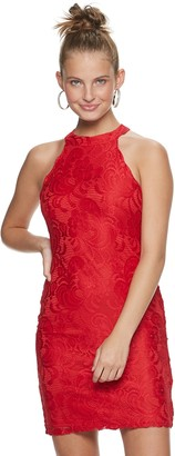 Almost Famous Juniors' High Neck Bodycon Lace Dress