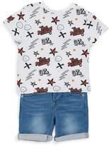 True Religion Little Boy's Two-Piece Printed T-Shirt & Denim Shorts Set