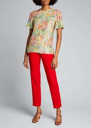 Prabal Gurung Floral Print Sequin Blouse