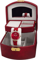 Burgi Womens Diamond Accent Rose-Tone & Red Strap Watch and Jewelry Box Set