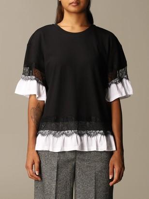Twin-Set Twin Set T-shirt Cotton T-shirt With Lace Trim