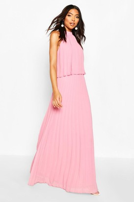 boohoo Tall Halterneck Pleated Double Layer Maxi Dress