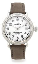 Shinola Runwell Coin Edge Stainless Steel & Leather Strap Watch