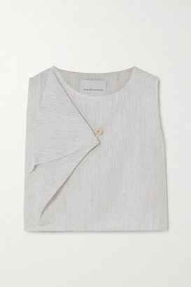 KING & TUCKFIELD Cropped Draped Striped Linen Top - White
