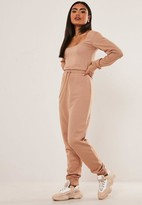 Missguided Tall Camel Scoop Neck Long Sleeve Jogger Romper