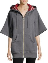Burberry Check-Lined Short-Sleeve Long Hoodie, Gray
