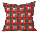 "DENY Designs Red Plaid Zoe Wodarz Mini Tree Plaid Throw Pillow (16""x16"