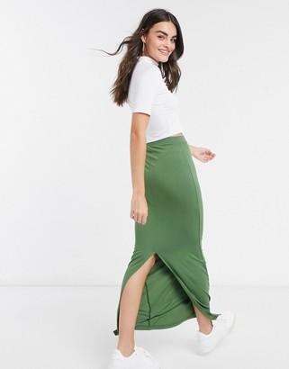ASOS DESIGN maxi column skirt in khaki-No Color